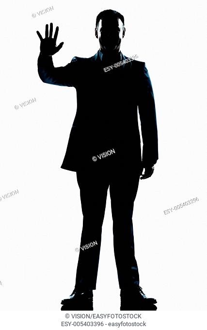 one caucasian man saluting high five full length silhouette in studio isolated white background
