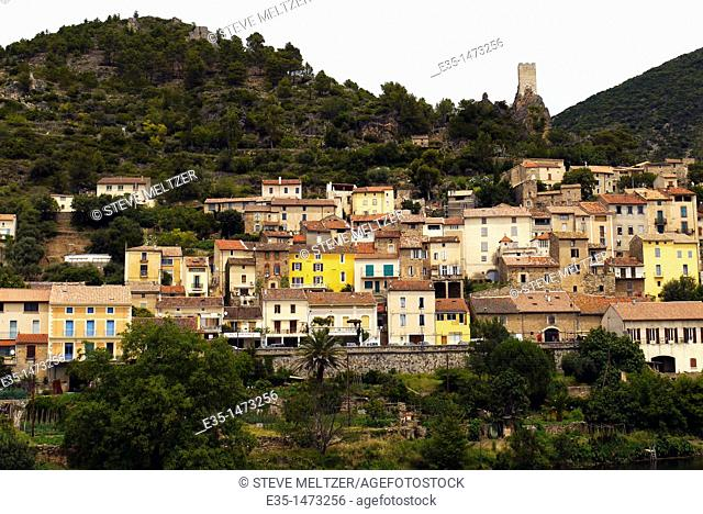 The village of Roquebrun sits perched on the hills of the Haute Languedoc National Park