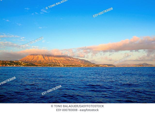 montgo mountain in blue Mediterranean dea Denia alicante spain