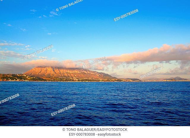 montgo mountain in blue Mediterranean dea Denia alicante spain