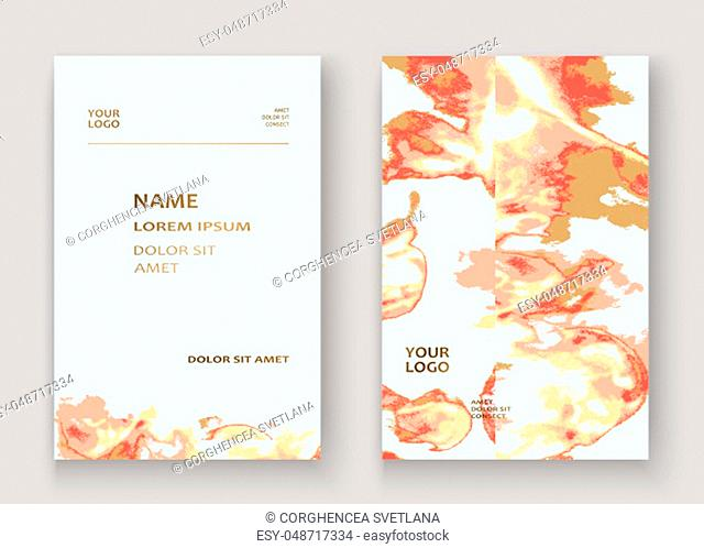 Coral gold marble luxurious texture paint artistic, wedding invitation design. Decorative pink golden splash fluid on white background, vector Illustration