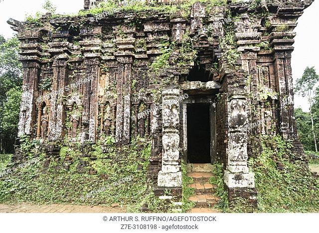 Carved reliefs. My Son Sanctuary, archaeological site, UNESCO World Heritage Site, Quang Nam Province, Da Nang, Vietnam, Southeast Asia