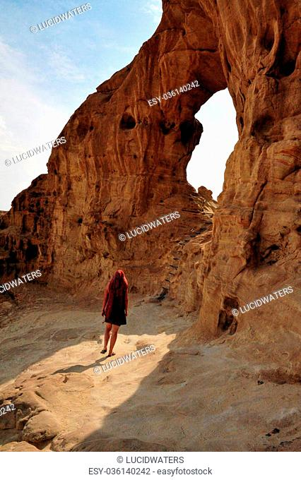 TIMNA, ISR - OCT 15:Visitor at Timna Park on October 15 2008.It's the world's first copper production center founded my the Egyptian in the in Timna valley over...