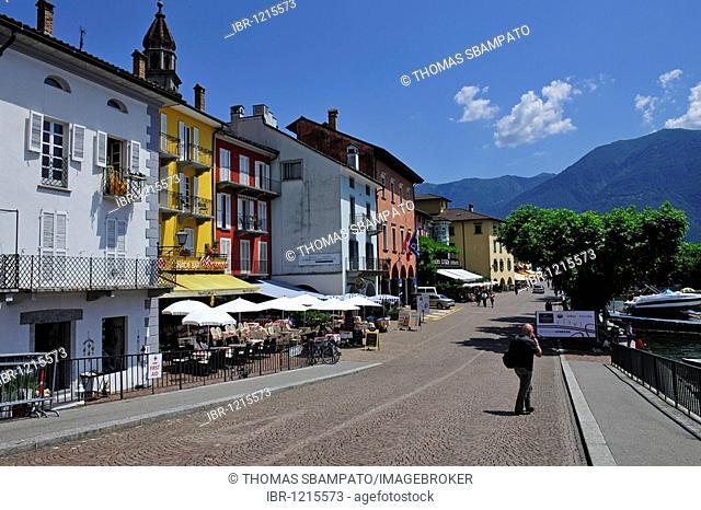 Street cafes on the promenade of Ascona, Lago Maggiore lake, Ticino, Switzerland, Europe