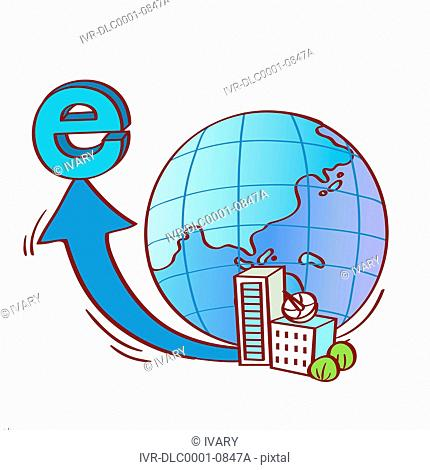 Illustration of world globe with Internet sign