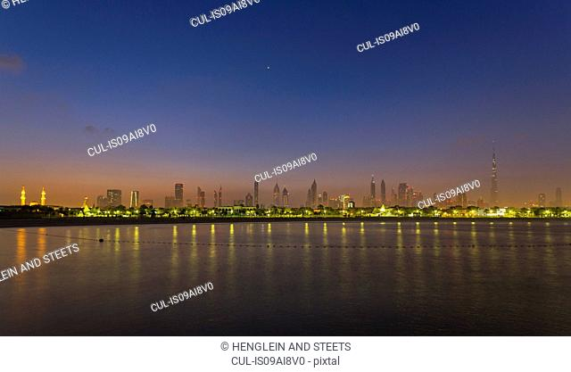 Downtown Dubai, Jumeirah Beach at night, United Arab Emirates