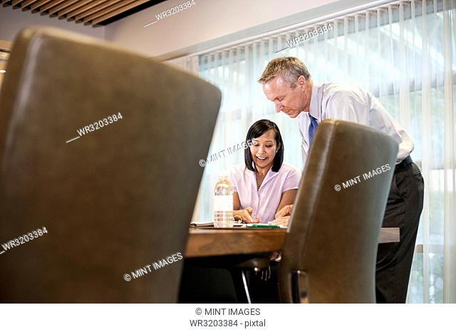 An Asian businesswoman and a Caucasian businessman at work at a conference table