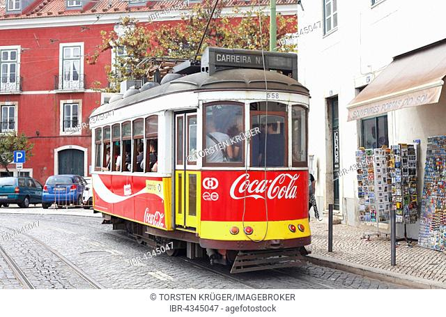 Old tram in the Alfama district, Lisbon, Portugal