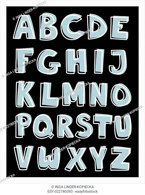 Alphabet letters hand drawn vector set isolated on dark background