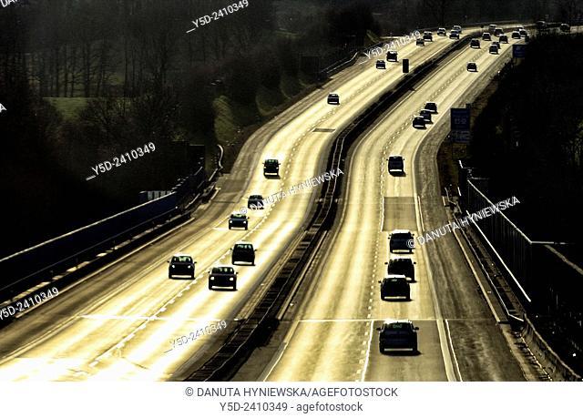 traffic on highway, Saxony, Germany