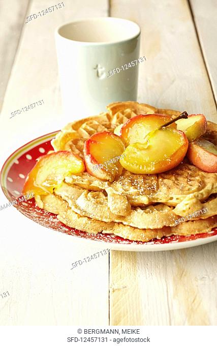 Cinnamon waffles with caramel apples