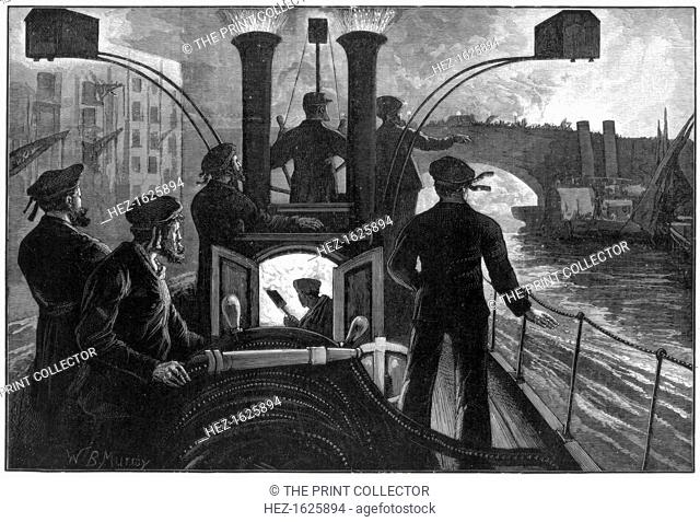 Steam fire-engine going to a riverside fire, London fire brigade, 1890. A print from the Illustrated London News, 6th September 1890