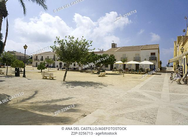 Main square in Tabarca, is an islet located in the Mediterranean Sea, close to the town of Santa Pola, in the province of Alicante, Valencian community, Spain
