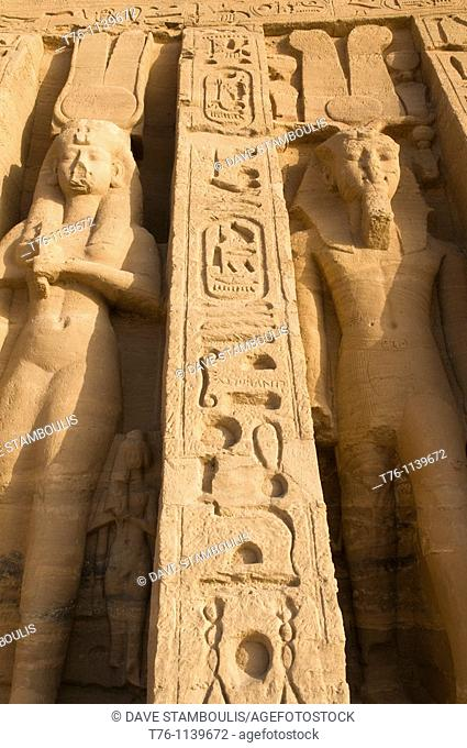 bas relief statues at the Hathor Temple of Queen Nefertari at Abu Simbel in Egypt