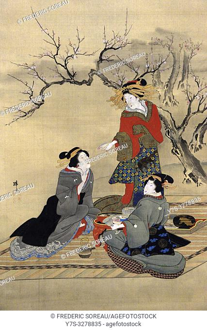 Allusion to the three heroes in the Peach garden,by Teisai Hokuba (1771-1844), color on silk, Edo period,19 th century,Tokyo National Museum,Tokyo,Honshu,Japan