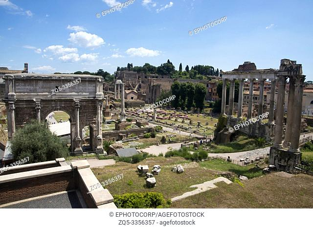 The Roman forum or marketplace or plaza surrounded by the remnants of ancient government buildings, Rome