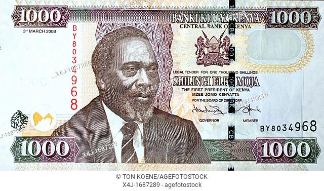 The first kenyan president Mr Jomo kenyatta, on a note of the kenya shilling