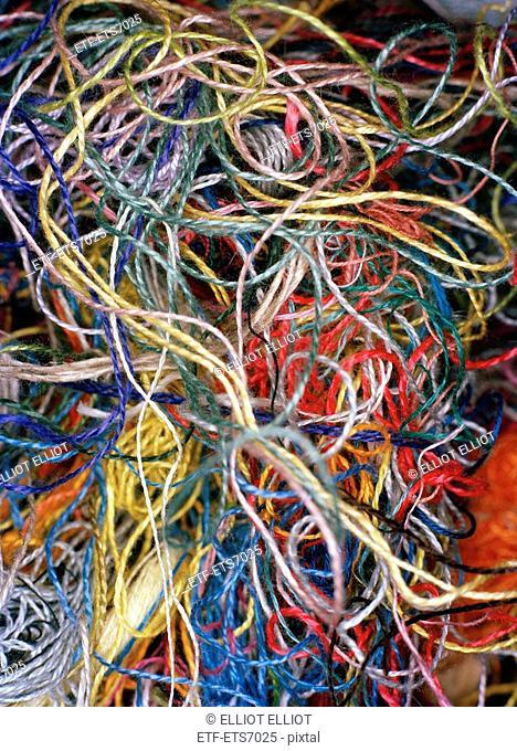 Yarn in disorder close-up