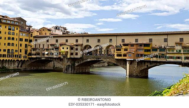 Florence, Italy – September 2014 Ponte Vecchio over the Arno river. September 2, 2014 in Florence, Italy