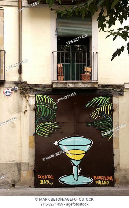 Graffiti in La Ribera advertising Milano Cocktail Bar Barcelona Spain