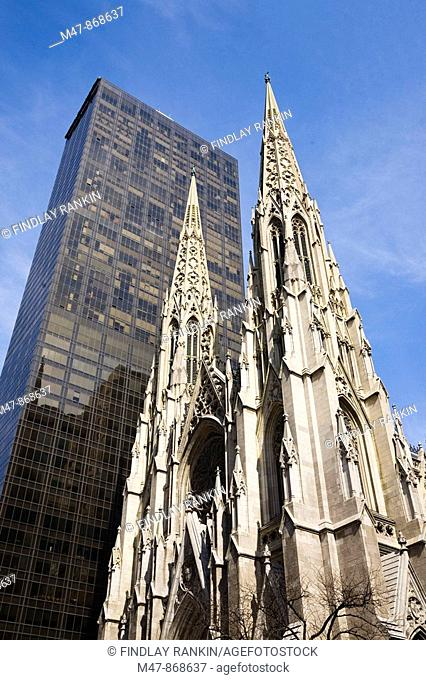 Spires of St Patrick's Cathedral, 5th Avenue, New York, USA