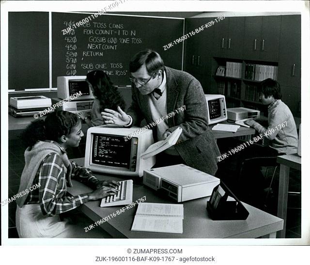 1982 - Teacher school computer class chalkboard code IBM (Credit Image: © Keystone Pictures USA/ZUMAPRESS.com)