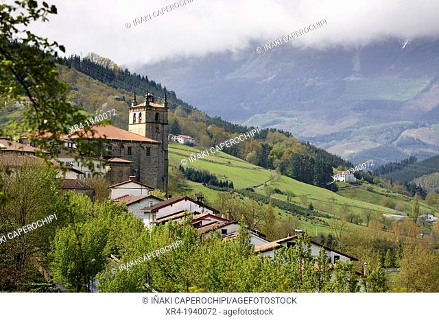 View Of Segura with the Church of the Assumption, Segura, Goierri, Gipuzkoa, Basque Country, Spain