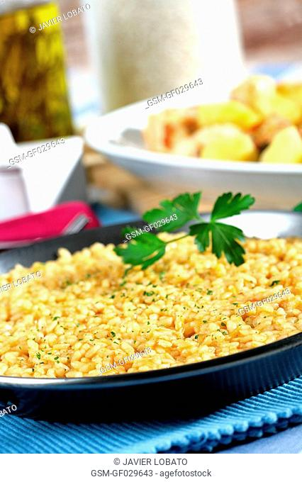 Abanda rice made with fish, served separately served as paella