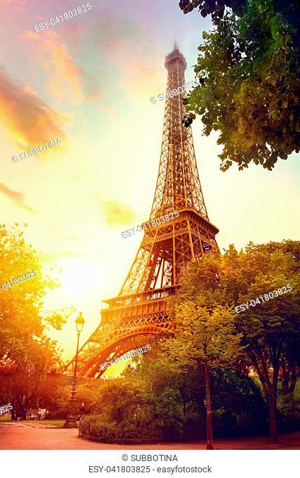 Eiffel Tower at sunrise, Paris, France. Beautiful romantic background
