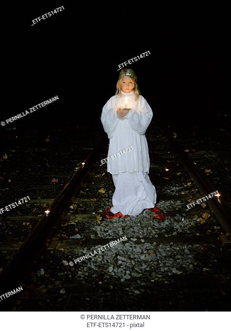 A girl dressed for Lucia