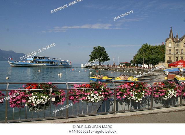 10650215, flowers, lake Geneva, harbour, port, canton Vaud, Lac Leman, Pedalos, ship, Switzerland, Europe, lake, sea, lake sho
