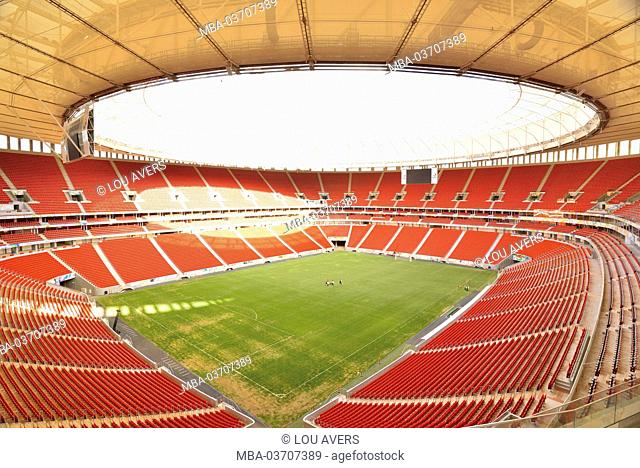 Brazil, Brazil, interior view from the world championship stadium of Estadio Nacional de Brazil, former stadium of Mané Garrincha with a capacity of 70