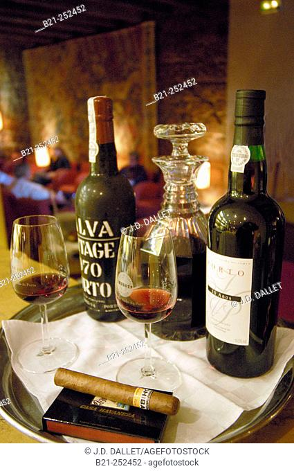 Porto wine in restaurant at Barrio Alto quarter. Lisbon. Portugal