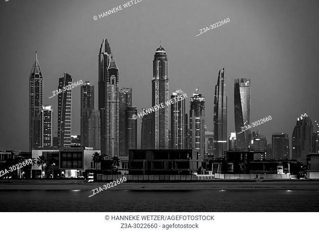 Dubai skyline at night, Dubai Marina, Dubai, UAE