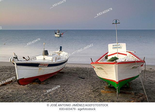Fishing boats. Cabo de Gata - Nijar Natural Park. Almeria Province. Andalucia. Spain