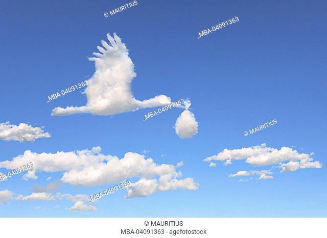 Sky, blue, cloud formation, stork, figure, mirror