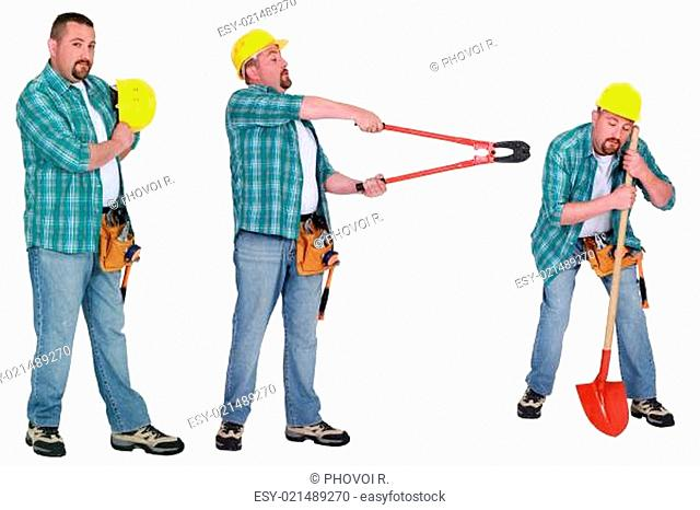 Handyman with different tools