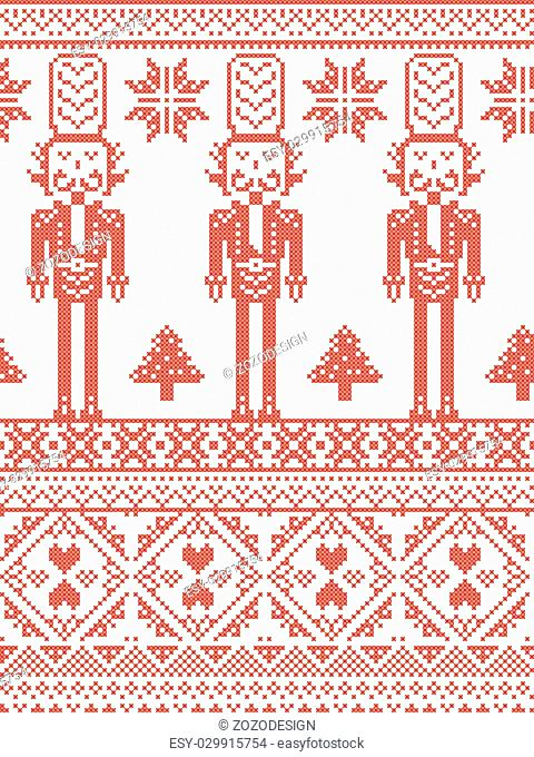 Scandinavian Printed Textile style and inspired by Norwegian Christmas and festive winter seamless pattern in cross stitch with Xmas trees, snowflakes