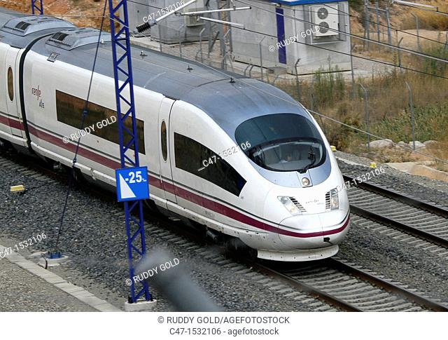 Spain, Catalonia, Lleida province, High Speed Train, AVE Serie 103 near Vinaixa
