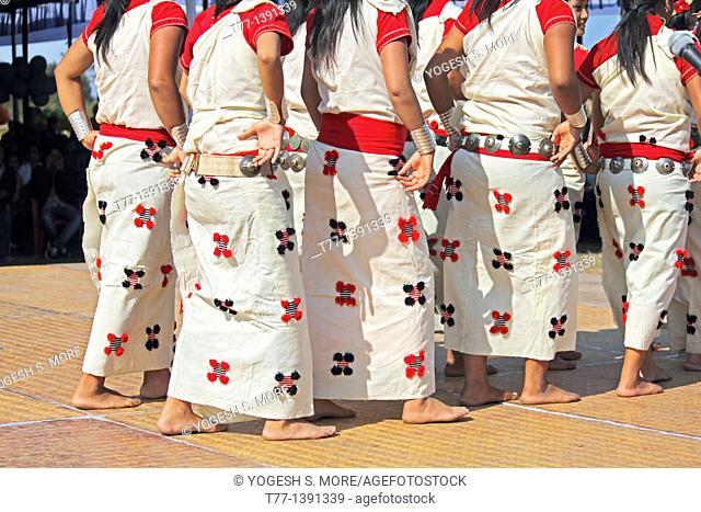Nyishi tribes, women performing dance at Namdapha Eco Cultural Festival, Miao, Arunachal Pradesh, India