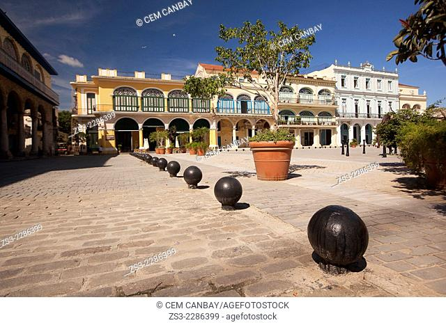 View to the Plaza Vieja square with colorful buildings and art galleries, Havana, Cuba, West Indies, Central America