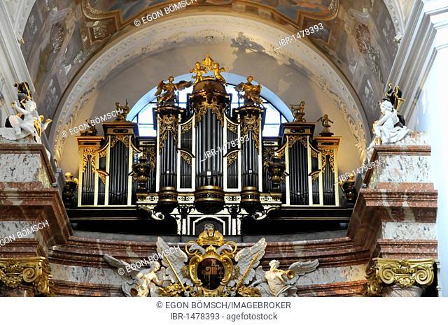 Detail, organ, Baroque, Karlskirche church, built 1716-1737, Vienna, Austria, Europe