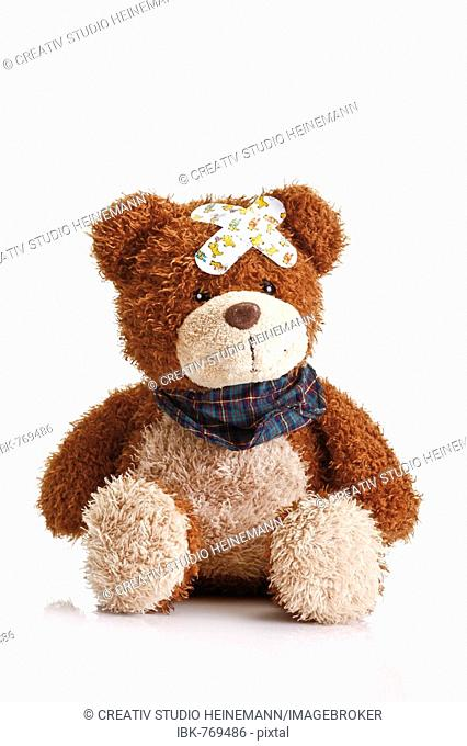 Teddy bear with band-aids on its head