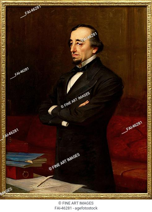Portrait of Benjamin Disraeli, 1st Earl of Beaconsfield (1804-1881) by Weigall, Henry, the Younger (1829-1925)/Oil on canvas/Realism/Great Britain/Private...