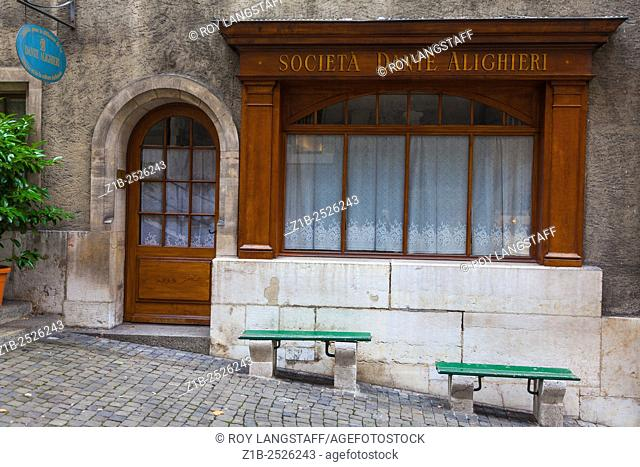 Office of the Society Dante Alighieri supporting the language and culture of Italy located in the old town of Geneva,