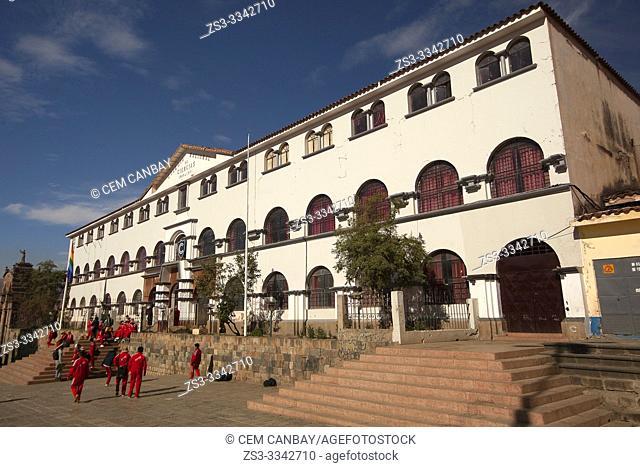 View to the Colegio Regional de Ciencias at Plaza San Francisco Square at the historic center, Cusco, Peru, South America