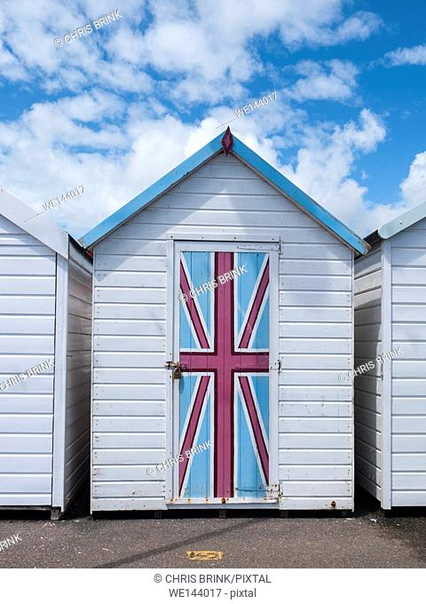 Union Jack flag painted on beach hut in Paignton, Devon, UK