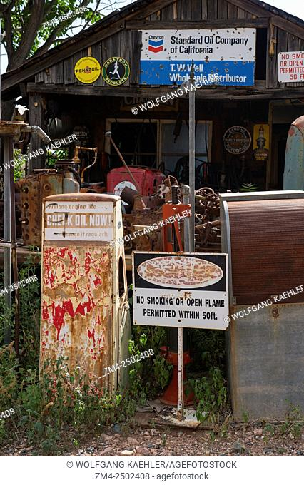 Vintage gas pumps at the historic Gold King Mine and Ghost Town from the 1890Â's outside of Jerome in Arizona, USA