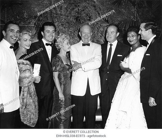 President Eisenhower with celebrities at the White House News Photographers Association Dinner. May 7, 1956, at the Sheraton Park Hotel