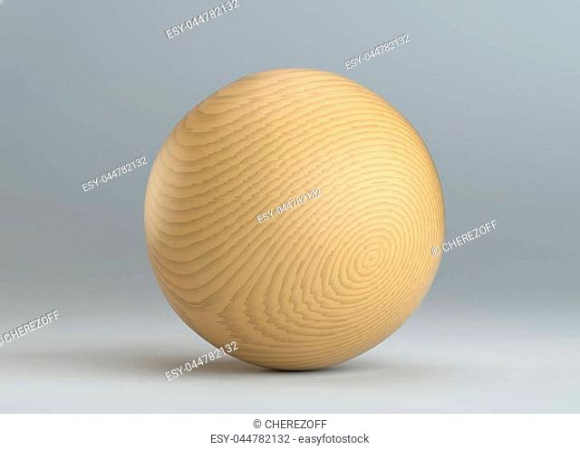 Wooden sphere on gray background. 3D Rendering